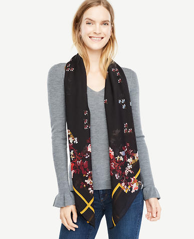 Opulent Floral Square Scarf