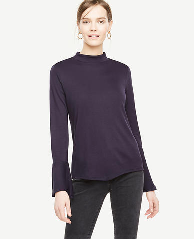 Mock Neck Flare Cuff Top