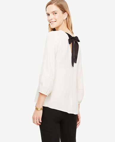 Petite Bow Back Puff Sleeve Blouse