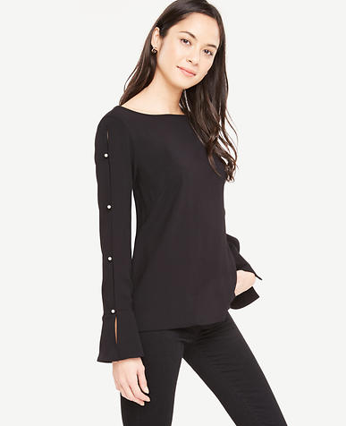 Pearlized Button Slit Sleeve Blouse