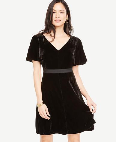 Petite Short Sleeve Velvet Dress