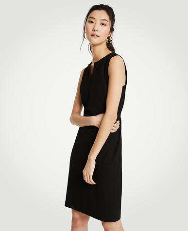 Split Neck Seasonless Sheath Dress