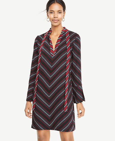 Petite Striped Tie Neck Dress