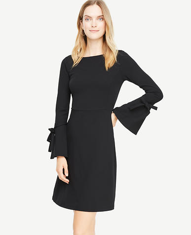 Petite Tie Bell Sleeve Flare Dress