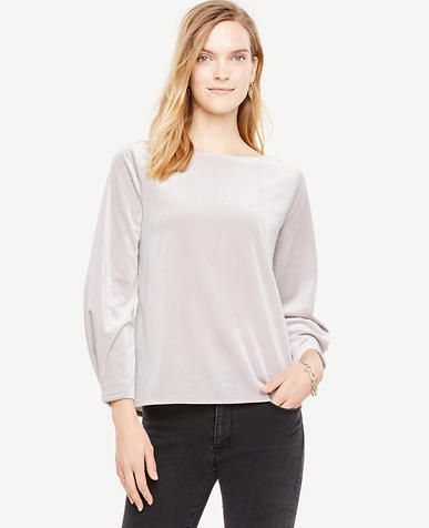 Petite Velvet Pleat Sleeve Top