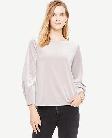 Petite Velvet Pleat Sleeve Top