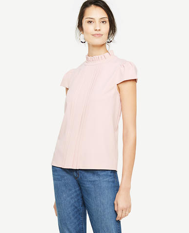 Petite Pleated Cap Sleeve Top