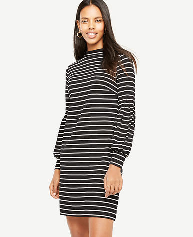 Petite Striped Lantern Sleeve Shift Dress