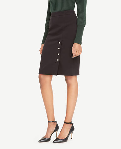 Pearlized Button Pencil Skirt