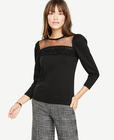 Lace Yoke Puff Sleeve Top