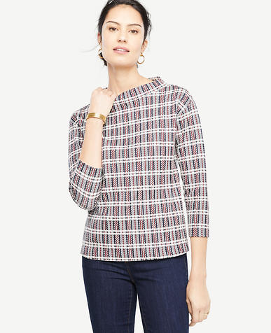Plaid Mock Neck Topper