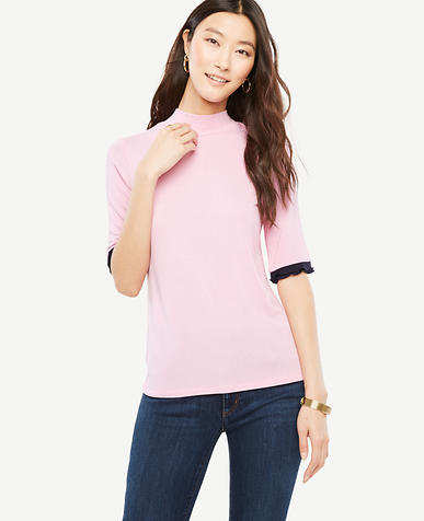Mock Neck Ruffle Cuff Top