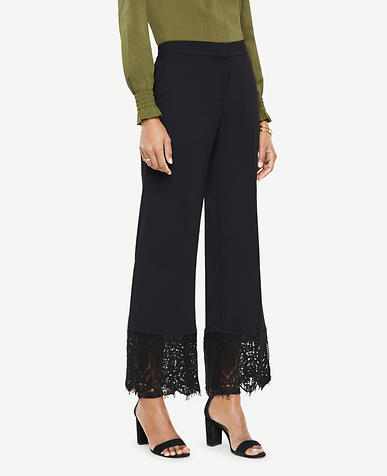 Cropped Lace Hem Pants