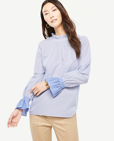 Stripe Poplin Shoulder Button Ruffle Top