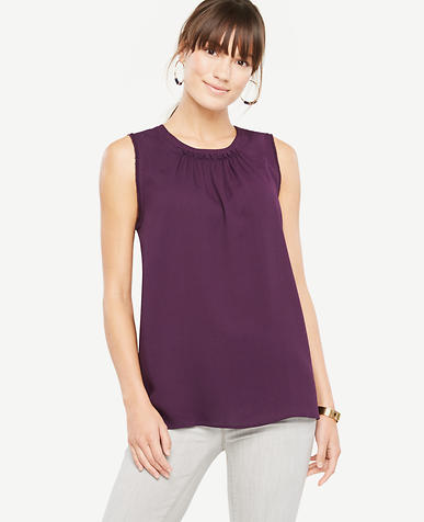 Petite Ruched Neck Shell