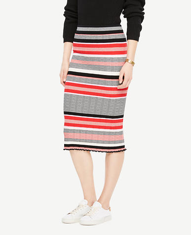 Striped Sweater Pencil Skirt
