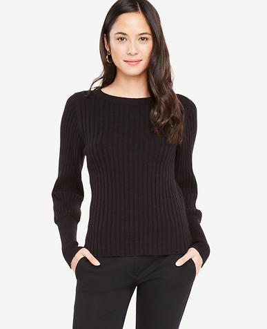 Petite Ribbed Lantern Sleeve Sweater