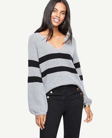 Striped Split Neck Balloon Sleeve Sweater