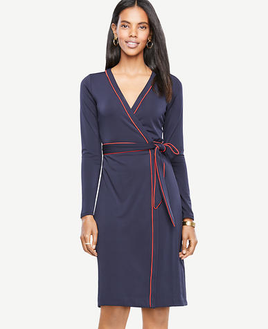 Petite Piped Wrap Dress
