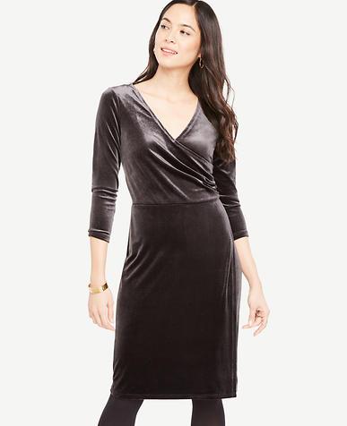 Petite Velvet Faux Wrap Dress