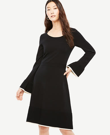 Petite Ruffle Flare Sweater Dress