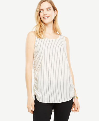 Tall Striped Sleeveless Drawstring Top