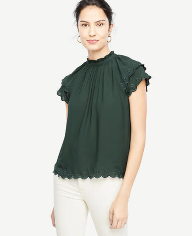 Petite Embroidered Scallop Trim Top