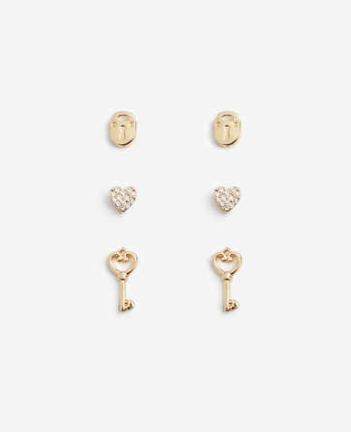 Heart Lock and Key Stud Earring Set