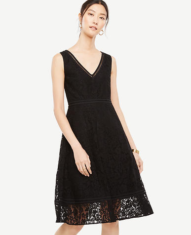 Petite Lace Midi Flare Dress