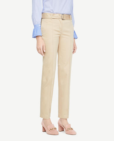 Petite Belted Cotton Sateen Chinos