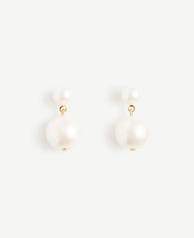 Double Pearlized Drop Earrings