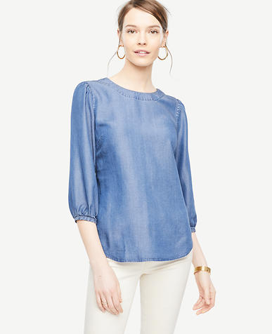 Chambray Lantern Sleeve Top