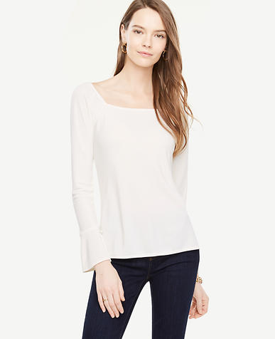 Square Neck Slit Cuff Top