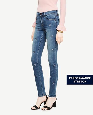 Embellished Skinny Jeans In Azure Wash