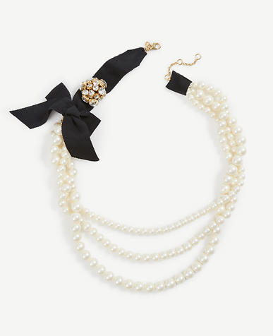 Pearlized Ribbon Necklace