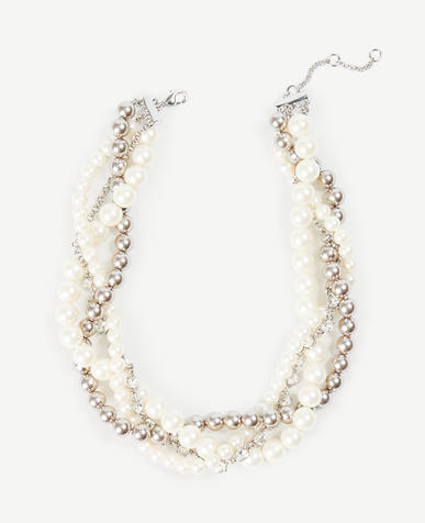 Twisted Pearlized Statement Necklace