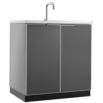 NewAge Products Aluminum Alloy Outdoor Kitchen Sink Cabinet - Slate Gray