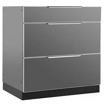 NewAge Products Aluminum Alloy Outdoor Kitchen 3-Drawer Cabinet - Slate Gray