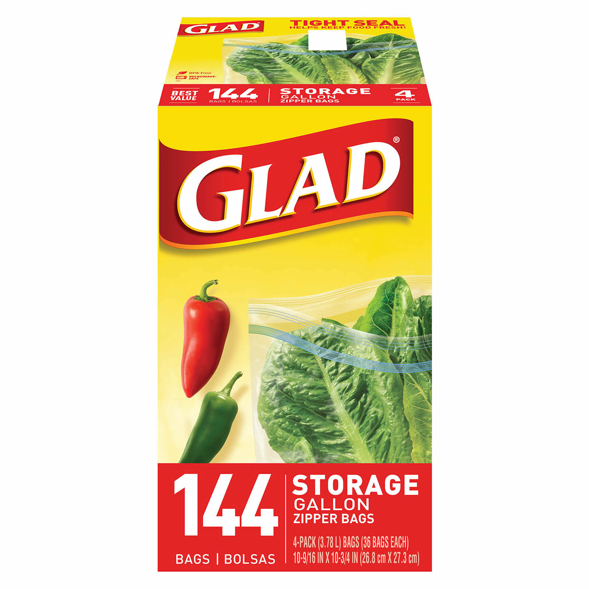 Glad 1 Gal Plastic Zipper Storage Bags 4 Pk36 Ct Clear Blue