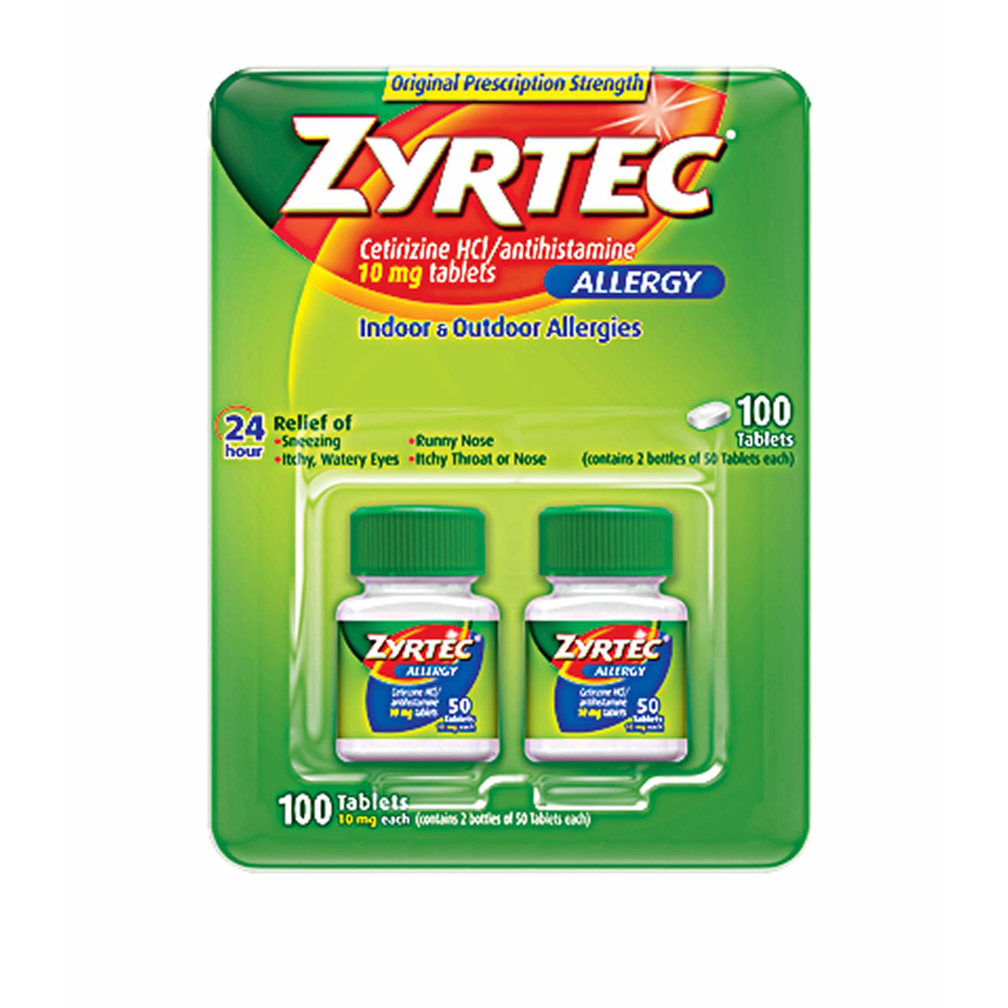 Zyrtec Prescription Strength Allergy Medicine 10mg Tablets With
