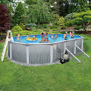 "Blue Wave Madagascar 21' x 41' x 52"" Aboveground Oval Metal Wall Pool"