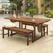 W. Trends 3-Pc. Acacia Patio Dining Set - Dark Brown