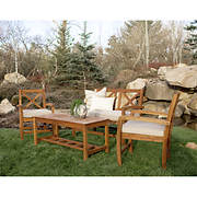 W. Trends Acacia X-Back 4-Pc. Patio Conversation Set - Brown