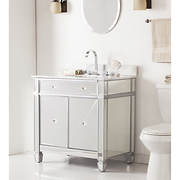 SEI Kendle Single-Sink Bathroom Vanity - Matte Silver/Gray-Grained Whi