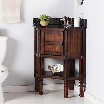 Sei Breck Single Sink Corner Bathroom Vanity Oak Saddlechina