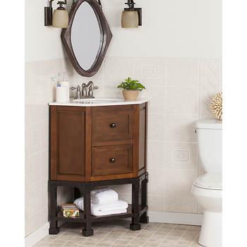 Sei Wes Single Sink Corner Bathroom Vanity Brown Cherrywhite