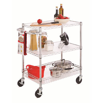 Home Storage E 3 Tier Rolling Cart Chrome