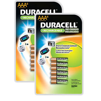 Duracell Rechargeable NiMH AAA Batteries, 6 ct., 2 pk