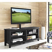 "W. Trends 58"" Wood Media TV Stand Console with Mount - Black"