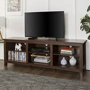 "W. Trends 70"" Wood Media TV Stand Storage Console - Traditional Brown"